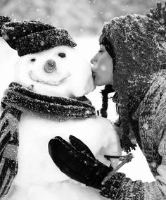 """Proud of her work, or living out a """"Winter Wonderland"""" fantasy with her pretend beau. Whichever, Snow Man looks happy. I Love Winter, Winter Fun, Winter Is Coming, Winter Snow, Winter Christmas, Christmas Kiss, Christmas Snowman, Christmas Hanukkah, Thanksgiving Holiday"""
