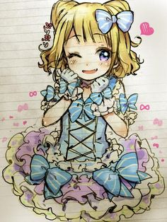 Manga Kind Mädchen ... mit Rüschenkleid ... süß ... niedlich ... blonde Haare ... kitschig