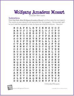 Wolfgang Amadeus Mozart   Composer Word Search Worksheet - http://makingmusicfun.net/htm/f_printit_free_printable_worksheets/wolfgang-amadeus-mozart-word-search-worksheet.htm
