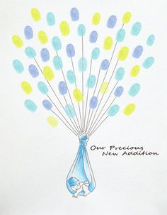 BABY SHOWER Guest Book Fingerprint Baloons 11 x 14 Customizable Original Drawing Thumbprint 25 to 50 guests