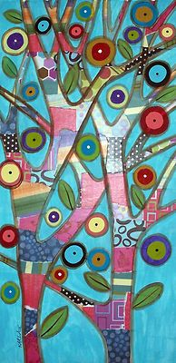 "12x24x3/4"" Playful Trees, original acrylic mixed media on stretched canvas, ready to hang, copyrighted, www.karlagerard.com"
