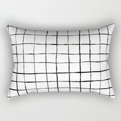 Grid Simple Line White Minimalist Art on Indoor Rectangle Throw Pillows by  Beautiful Homes   printed by Grid Simple Line White Minimalist Art on  Indoor ... 82ebb5d874e