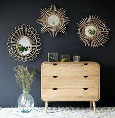 Mirrors – Home Decor : Miroir rond en rotin naturel forme étoile Moka -Read More – Decor, Interior, Interior Inspiration, Rattan Mirror, Home Decor, House Interior, Home Deco, Furnishings, Interior Deco