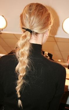Rebecca Minkoff, New York Fashion Week, Backstage NYFW - braids Trending Hairstyles, Messy Hairstyles, Pretty Hairstyles, Updo Hairstyle, Rebecca Minkoff, Braids For Short Hair, Short Hair Styles, Long Hair Dos, Hair Inspo
