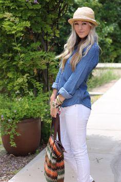 jean shirt white pants