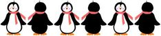 Penguins wearing winter scarves clip art border