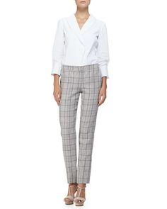 3/4-Sleeve Shawl-Collar Blouse & Prince of Wales Wide-Cuff Pants by Armani Collezioni at Neiman Marcus.