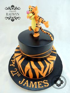 What a busy week Ive hadone of my favourite cakes was this Tigger cake for James. I loved making this and cant wait to do another Tiggermaybe bouncing on his tail next timehes such a happy little guy!