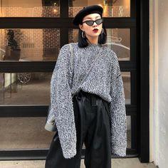 FF STUDIO定制 宽松套头毛衣女秋冬新款蝙蝠袖加厚bf风打底针织衫-淘宝网