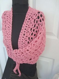Crochet PATTERN num. 375.. Pink Mesh Shrug make it by Hectanooga