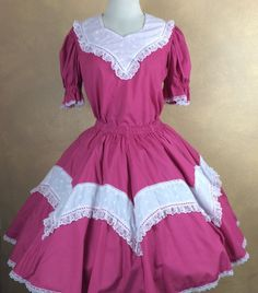 Kate Schorer Pink and White Eyelet Square Dance Outfit  Skirt & Top SIze S #KateSchorer