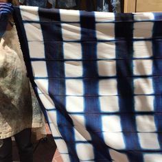 """Katrina Rodabaugh on Instagram: """"Heading to our tiny studio on Market Street again. One more photo from yesterday with @avfkw Gorgeous example of shibori with indigo dye. That pattern! Today will be more mending and weaving by @meghanshimek #makethriftmend #tinyrangestudio"""""""