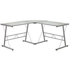Modern Silver Metal L-Shaped Desk with Glass Top and Floor Glides - Quality House