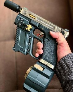 """edgarallenbroe: """"mk-ultra-actual: """"That is some hardcore mall ninja fedora wearin airsoft shit if I ever seen it. """" It's a glock airsoft gun with a VFG. Airsoft Guns, Weapons Guns, Guns And Ammo, Zombie Weapons, Ps Wallpaper, Armas Ninja, Custom Guns, Custom Glock, Concept Weapons"""