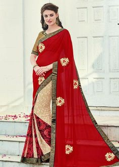 Classy Cream and Red Saree  https://www.ethanica.com/products/classy-cream-and-red-saree-4
