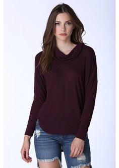 Meredith Cozy Cowl Neck Sweater in Wine | Necessary Clothing