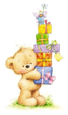 Happy Birthday bear w/presents Tatty Teddy, Happy Birthday Images, Happy Birthday Cards, Birthday Wishes, Birthday Gifts, Illustration Noel, Illustrations, Cute Images, Cute Pictures