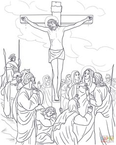 Stations of the Cross Coloring Pages 13 The body of Jesus is taken