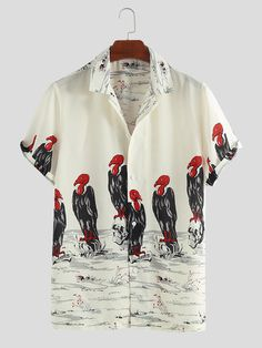 ChArmkpR Mens Funny Vulture Printed Turn Down Collar Short Sleeve Casual Shirts Best Online - NewChic Colorful Fashion, Diy Fashion, Mens Fashion, Casual Shirts, Casual Outfits, Men Casual, Casual Clothes, Camisa Floral, Ootd
