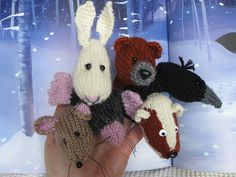 Ravelry: In the Deep Dark Wood Animal Finger Puppets ... bear, hare, mouse, raven, mole, badger pattern by Lindsay Mudd