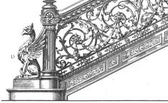 Cast Iron : Balustrade, Baluster, Newel Post In the 19th century cast iron was an important component of staircase, whether whole in whole or just the the newel posts.