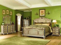 Antique style of king bedroom furniture sets: bed, side closets, dressing table Antique White Bedroom Furniture, Bedroom Furniture For Sale, Bedroom Vintage, Modern Bedroom, Marble Bedroom, Furniture Ideas, Grey Bedrooms, King Furniture, Furniture Design