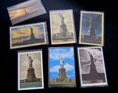 7 Rare Vintage 1930's/1940's Statue of Liberty postcards. Seven different Lady Liberty postcard collectibles!