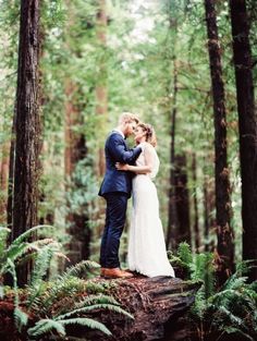 Elopement among the red woods. Photo by www.perryvaile.com (via Style Me Pretty).