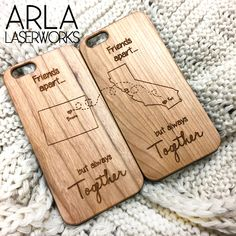 Set of two laser cut wood iPhone cases for long distance best friends / long distance relationships. Click to purchase form Etsy! Custom Wood iPhone Cases - Available for iPhone 4, iPhone 5, iPhone 5c, iPhone 6, iPhone 6 Plus, and Galaxy S4.
