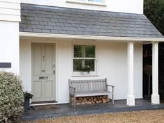 Try Farrow and Ball French Gray fro similar front door colour. From Modern Country Style: Exterior Transformation: Shockingly Lovely! Click through for details. Front Door Porch, Front Doors, Door Entry, House Entrance, Front Porches, Porch Roof, Side Porch, Garage Doors, Style Cottage