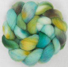 Hand dyed roving, Cheviot, 100g, hand painted British wool top, roving, green fibre, fiber, spinning wool, Forest Spring by YummyYarnsUK on Etsy