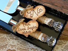rustic wedding cake serving set - Google Search