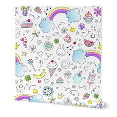 Doodles Sweets and lots of Joy Jumbo - Spoonflower Paper Clip Art, Digital Papers, Custom Fabric, Spoonflower, Doodles, Sweets, Joy, Scrapbook, Invitations