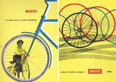 """Bob Noorda, Pirelli ads """"Friend for your bicycle"""", 1955 and """"Millions of cyclists choose Pirelli"""", 1957."""