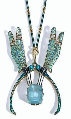 Lalique wings and aquamarine