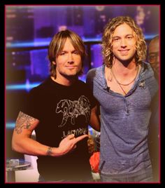 Keith Urban and Casey James meeting on the set of Idol...