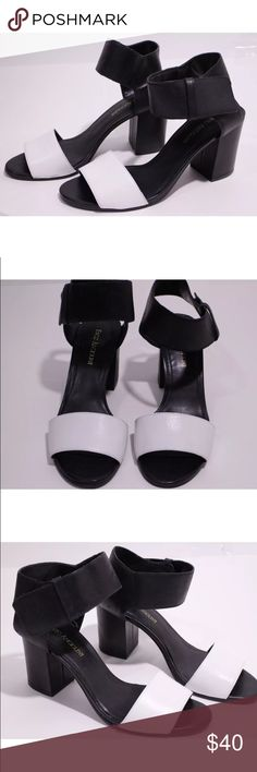 Enzo angiolini black/white color block heels Genuine leather. Black/white color block. Pre owned in excellent close to new condition Enzo Angiolini Shoes Heels