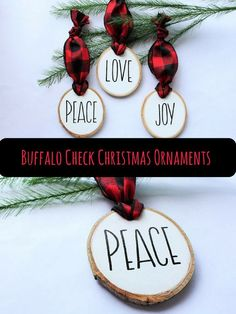 I love these! These ornaments are hand painted and hand lettered on genuine Aspen wood slices. The buffalo check ribbon give them a unique and fun twist on a classic modern farmhouse style Christmas ornament. #Christmas #chrisstmasornament #ornament #buffalocheck #plaid #buffalocheckornament #ad #farmhouse #farmhousechristmas #farmhouseornament #woodslice #woodsliceornament