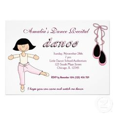 Shop Dance Recital Invitation created by graphicdesign. Personalized Invitations, Custom Invitations, Pink Slippers, Dance Recital, Colored Envelopes, Envelope Liners, Paper Texture, Smudging, Announcement