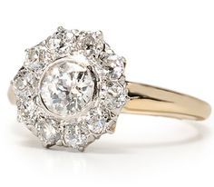 Edwardian Diamond Cluster Ring - The Three Graces. Great example of round perimeters of the old European cut.