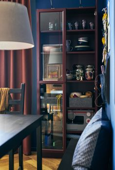 With the BILLY Bookcase, changing activities is as easy as putting one thing back and taking out another. Glass doors also let you display your passions. Ikea Usa, Create Space, Pattern Mixing, Space Saving, No Time For Me, Inspiration, Ikea Ideas, Glass Doors, Study