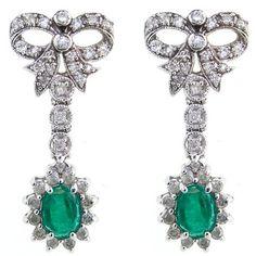 Estate !! 14kt White Gold Diamond And Emerald Earrings $2,525