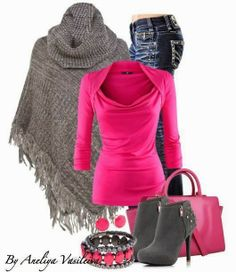 Pink and grey ladies outfit 2014 | Fashion World