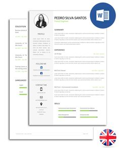 Resumé (CV) model fully editable in Word. The model is organised in text boxes, so you can easily change the font and colour of the text. Files include all the icons seen in the image. Cv Models, Resume Models, Best Resume, Resume Cv, Marketing Jobs, Training Center, Texts, Language, Icons