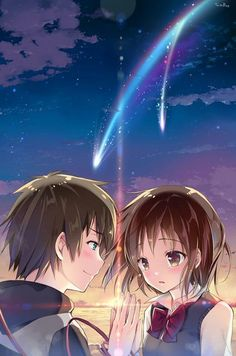 Kimi no Na wa. (Your Name. Kimi No Na Wa, Mitsuha And Taki, Manga Anime, Anime Art, Your Name Anime, Anime Triste, Tamako Love Story, Hokusai, Animes Wallpapers