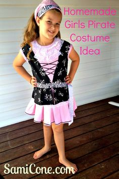 Homemade Girls Pirate Costume idea, complete with bandana, inspired by a Disney girls pirate costume we saw at the end of the Pirates of the Caribbean Ride at Walt Disney World. This was sewn by grandma.