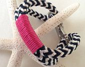 Navy & White Nautical Rope Bracelet with Pink Wrap and a Stainless Steel Clasp from Buoy6 on Etsy $20