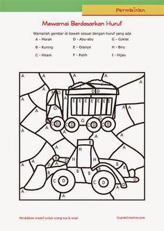 permainan anak paud (balita/TK), mewarnai sambil belajar membaca huruf, gambar truk