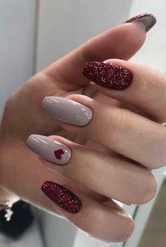 Cute Acrylic Nails, Acrylic Nail Designs, Cute Nails, Pretty Nails, Nail Art Designs, Nails Design, Best Nail Designs, Elegant Nail Designs, Silver Glitter Nails