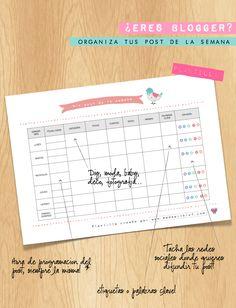 Made with lof: Descargable - Calendario semanal para organizar y programar los post de tu blog.